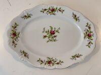 """Vtg Johann Haviland Bavaria German Porcelain """"Moss Rose"""" Platter / Serving Tray"""