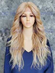 Long Loose Wavy Heat OK Human Hair Blend Lace Front Wig Light Blonde Ombre OCEX
