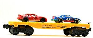 Vintage Lionel Union Pacific Flatcar 9020 Yellow with 2 Racecars