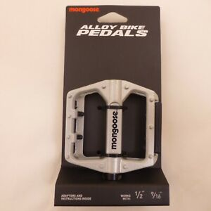 """Mongoose Silver Universal Alloy Bicycle Pedals 9/16"""" or 1/2"""" Adapter Included"""
