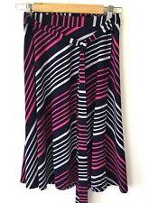 Women's wrap skirt size 12 stretch skirt stripes in pink navy white