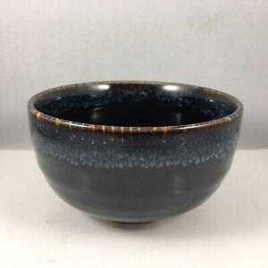 """Japanese Rice Soup Noodle Bowl 5""""D Porcelain Black Amber Blue Made in Japan"""