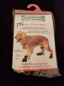 Brand New! Fashion Pet Lookin Good Arctic Fleece Boots for Dogs Size XS. Black