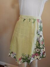 Ann Taylor Loft Sz 6P Linen Cotton Knee Length Pleated Skirt Lined Yellow Floral