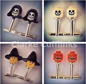 LEGO ® Mini Figure Head Cufflinks Halloween, Pumpkin, Skeleton, Witch, Horror