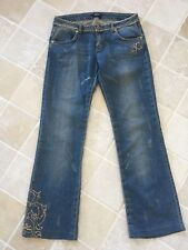 WOMENS VERSACE COUTURE JEANS, STRAIGHT LEG, BLUE DISTRESSED,GOLD SEQUINS SIZE 29