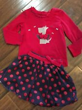 A Petite Echelle Boutique 2pc 4th Of July Outfit Bubble Skirt Polka dot Red Blue
