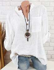 Bluse Damen Italy Tunika Longbluse Fischerhemd Leinen Optik weiß 42 44 46