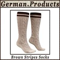 New German Bavarian Oktoberfest Trachten Men Lederhosen Brown Stripes Socks Gp55