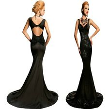 Sz 12 14 Black Sequin Sleeveless Formal Cocktail Evening Gown Party Maxi Dress