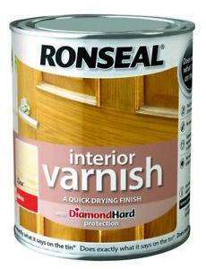 Ronseal Interior Varnish SATIN / MATT / GLOSS Diamond Hard Quick Drying 250ml