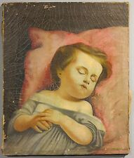 Extremely rare c.1840-50 American folk art post-mortem antique oil painting