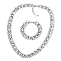 "Stainless Steel Curb Bracelet for Women Necklace Jewelry Set 24"" Hypoallergenic"