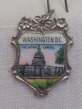 Capitol Bldg. Large/Ornate Charm Vintage Reu Sterling/Enamel Washington D.C.