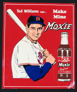 MOXIE Soda Ted Williams Boston Red Sox Vintage Tin Metal Sign