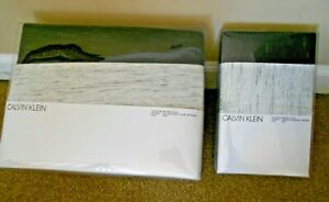 CALVIN KLEIN Gene GRAY Modern REVERSIBLE Full/Queen DUVET Pillowcase 3PC Set