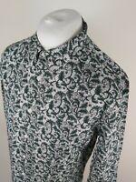 Mens Pretty Green Floral Leaf Shirt Green Large Slim 42-42 Chest Vvgc
