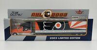 "NHL 2003 PHILADELPHIA FLYERS Truck Trailer Metal Die Cast Scale 1:80 9 1/2"" X 2"""