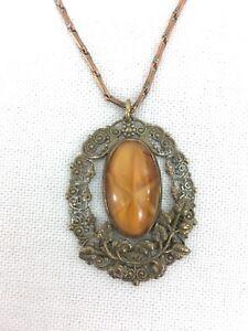 "Vtg 19"" Copper Chain Ornate Floral Brown Stone Pendant Necklace"