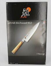 NEW | $1800 MIYABI BIRCHWOOD SG2 7-PC KNIFE BLOCK SET 34370-007 DAMASCUS