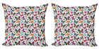 Ambesonne Butterfly Pattern Cushion Cover Set of 2 for Couch and Bed in 4 Sizes