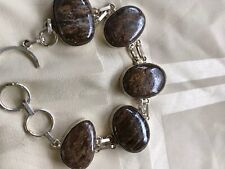 "Picture Jasper  Gemstone 925 Silver Jewelry Bracelet  7-8"""
