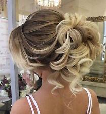 Natural Look Thick Messy Bun Scrunchie Hair Extension Blonde Brown Human UK104