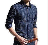 Men Slim Fit Polka Dot Cotton Casual Formal Long Sleeve Camisa Shirts 3 Colors J