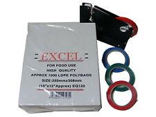Sac cou scellant machine + 1000 Excel plastique transparent Poly Sacs LDPE alimentaire 10x12