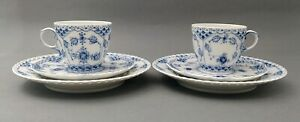 2 Royal Copenhagen breakfast sets blue fluted lace  # 1035 # 1087