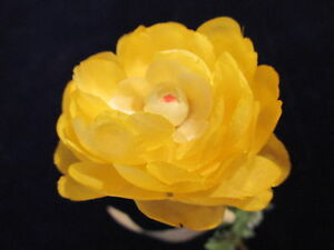 """Vintage Millinery Flower 2"""" Yellow w/Fluffy Petals for Hat Bridal + Hair NV8"""