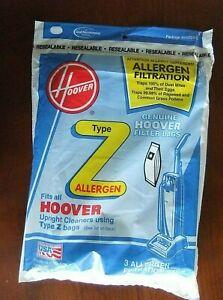 Hoover Z Type Vacuum Bags Allergen Filtration Bags 3 Pack Unopened 4010100Z -NOS