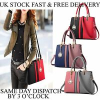 Vincenza PU Leather Womens Shoulder Bags 2 Tone Handbag Tote Purse Bag UK