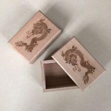 2 Stück Holzdose Holzkiste Schmuck Box Aufbewahrungsbox Drachen Motiv 6x10x15cm