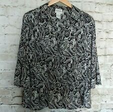 BonWorth Womens Blouse Top Size M Black White Paisley Micropleat Bell Sleeve
