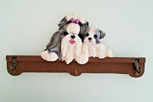 Shih Tzu Mom and Pup Plaster Coat/Hat and Key Hook Rack With Three Hooks