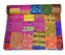 Colorful Patchwork Kantha Bedspread Indian Handmade Quilt Throw Cotton Blanket