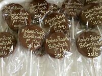 25 Personalised Belgian Chocolate Lollies, Birthday, Wedding Favours, Christmas