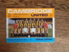 Cambridge United v Oldham Athletic Football Programme 1978/79