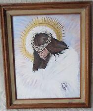 Vintage Jesus with Gold Halo Crown of Thorns Original Oil Painting Framed Artist