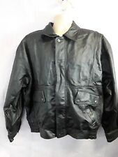 Mens Vintage  Real Leather Black Classic Size Xl zip up jacket coat pockets