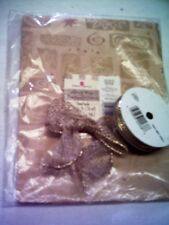 New! Gift Wrapping Supplies 1-pack Golden Print Paper/Metallic Bow & Gold Ribbon
