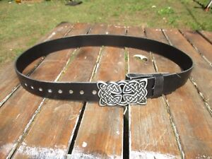 """Celtic buckle Leather Belt Handmade To Custom Fit YOU  22"""" to extra long 66 inch"""