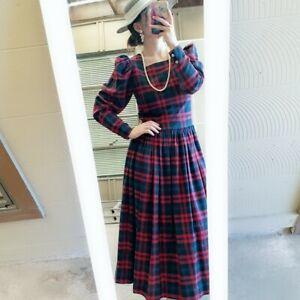 Vtg Laura Ashley Plaid Wool Blend Dress Size 8 Drop Waist Red Green EXCELLENT