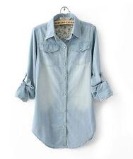 Unbranded Denim Long Sleeve Casual Tops & Blouses for Women