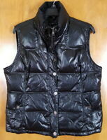 TOMMY HILFIGER Size L Black Shiny Zip Up Puffer Vest