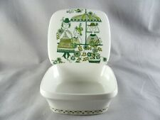 "Figgjo Market Butter Box, 4-3/8"", turi, green, 1508, Norway, vtg"