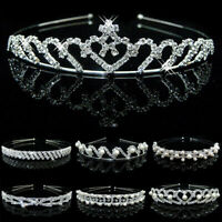 Rhinestone Crystal Princess Tiara Hair Band Bridal Wedding Prom Crown Headband