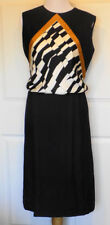 Vintage Black White Gold Shantung Dress Sleeveless Built In Camisole B38