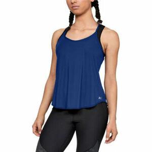 Under Armour UA HeatGear Ladies Free Cut Strappy Tank Blue Sports Running Vest